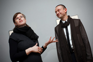 Karolina Vyšata and Rafal Lukawiecki at the Opening of (Be)Longing Exhibition in Kraków