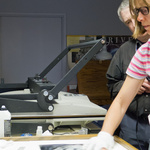 Anne Larsen Prepares a Print for Dry Mounting